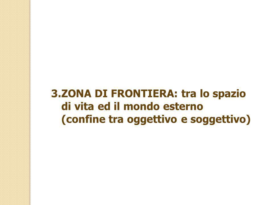 ZONA DI FRONTIERA: tra lo spazio di vita ed il mondo esterno (confine tra oggettivo e soggettivo)