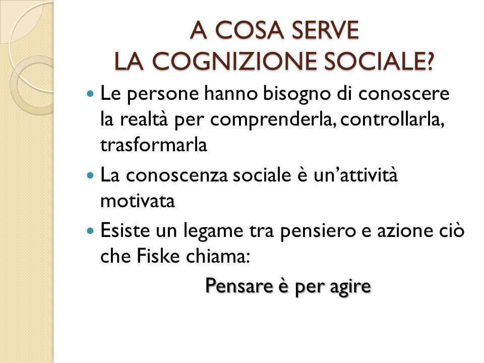 A COSA SERVE LA COGNIZIONE SOCIALE