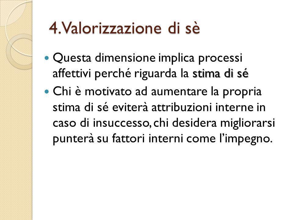 4.Valorizzazione di sè Questa dimensione implica processi affettivi perché riguarda la stima di sé.