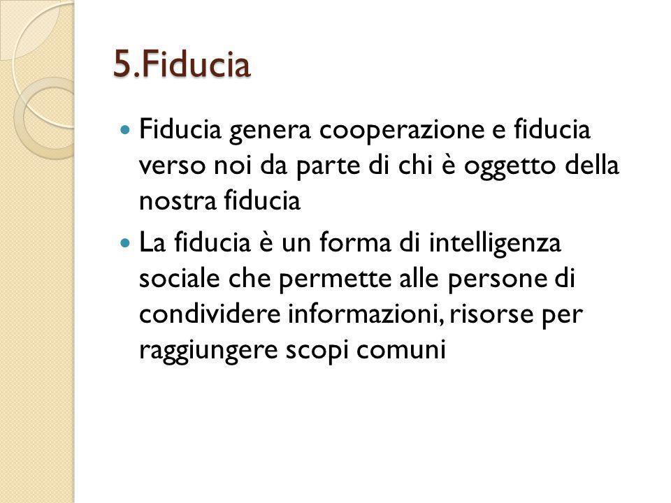 5.Fiducia Fiducia genera cooperazione e fiducia verso noi da parte di chi è oggetto della nostra fiducia.