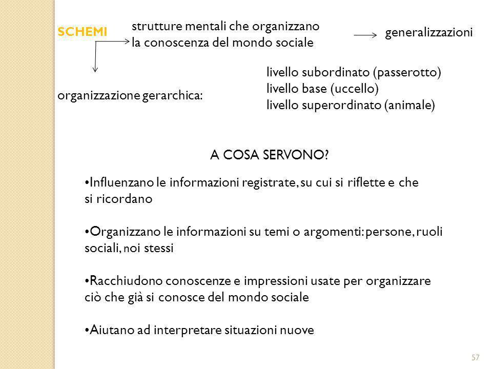 strutture mentali che organizzano la conoscenza del mondo sociale