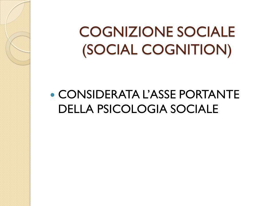COGNIZIONE SOCIALE (SOCIAL COGNITION)