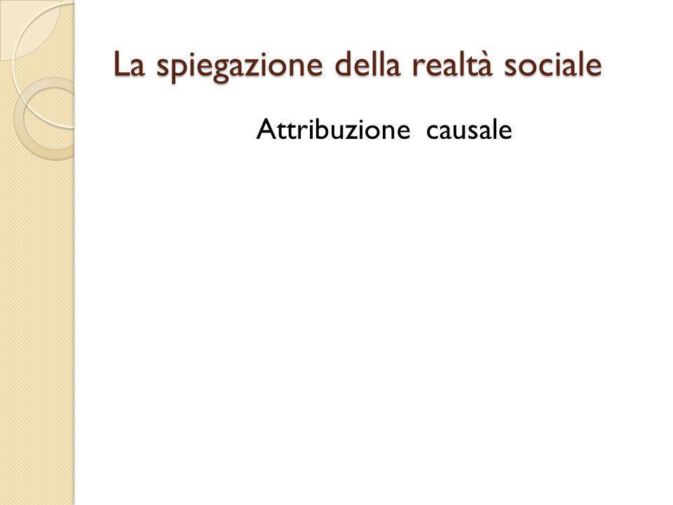 La spiegazione della realtà sociale