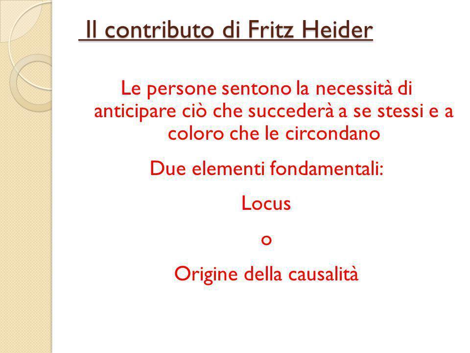 Il contributo di Fritz Heider