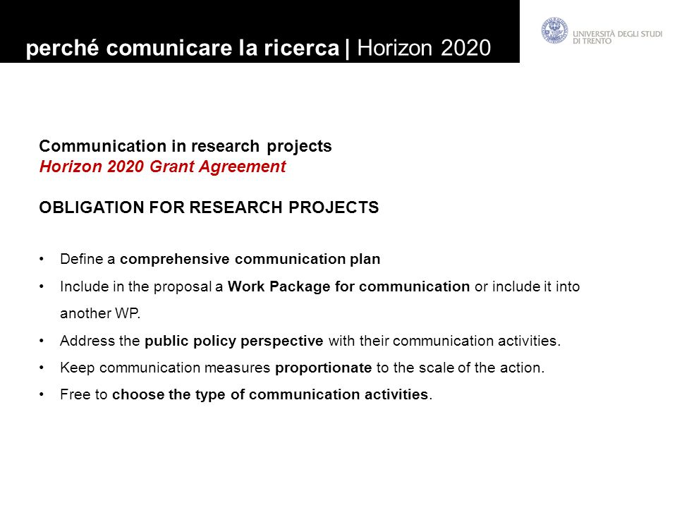 perché comunicare la ricerca | Horizon 2020