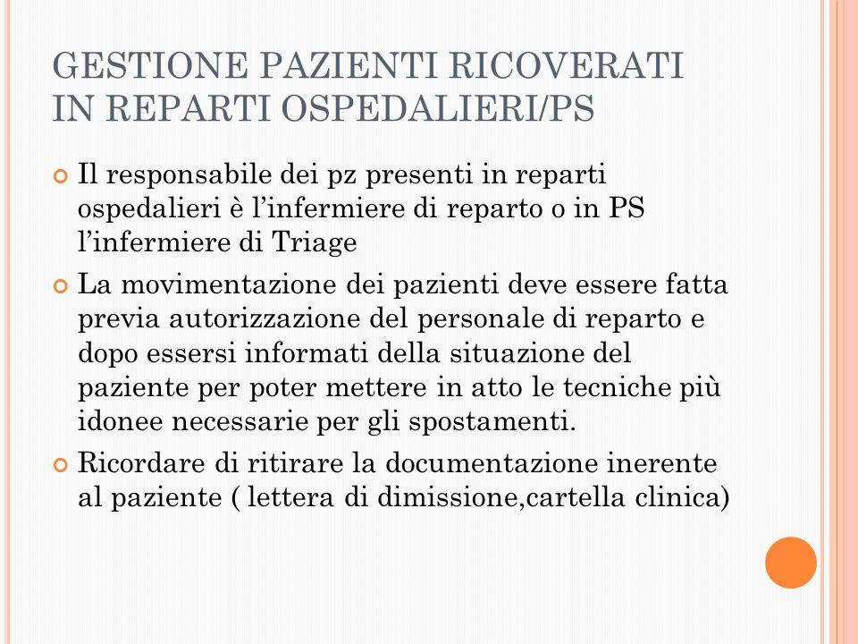 GESTIONE PAZIENTI RICOVERATI IN REPARTI OSPEDALIERI/PS