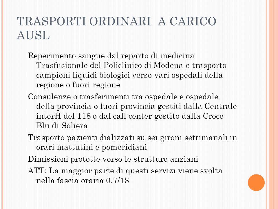 TRASPORTI ORDINARI A CARICO AUSL
