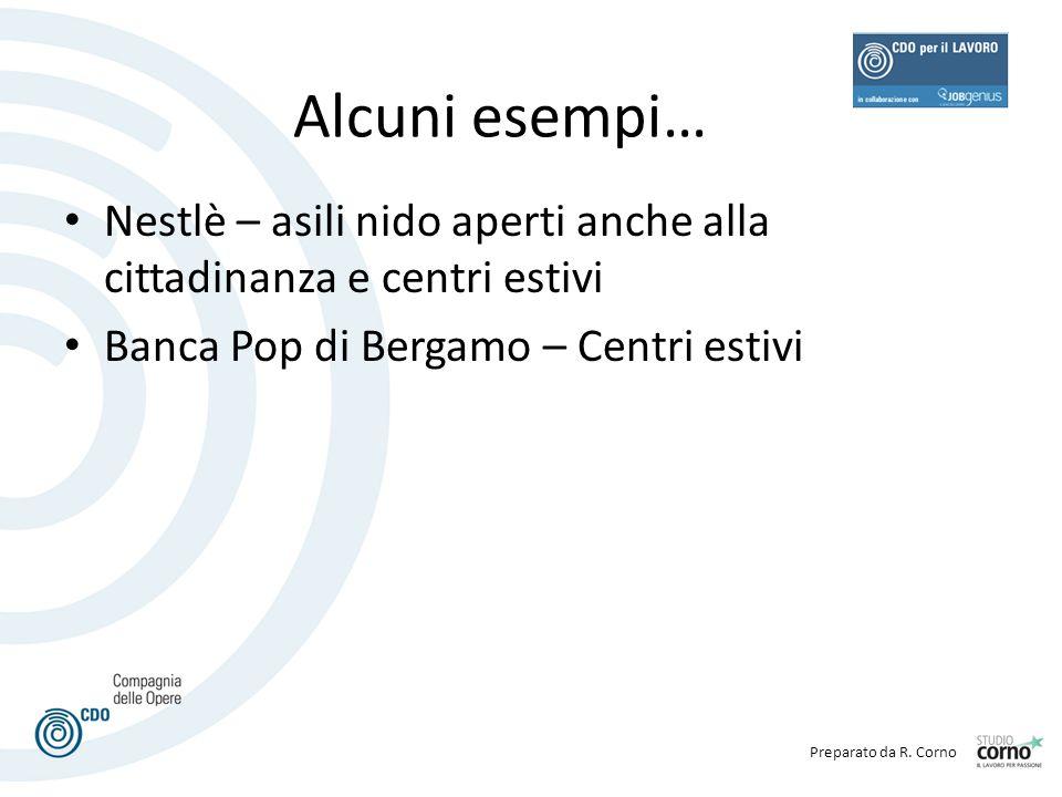 Alcuni esempi… Nestlè – asili nido aperti anche alla cittadinanza e centri estivi.