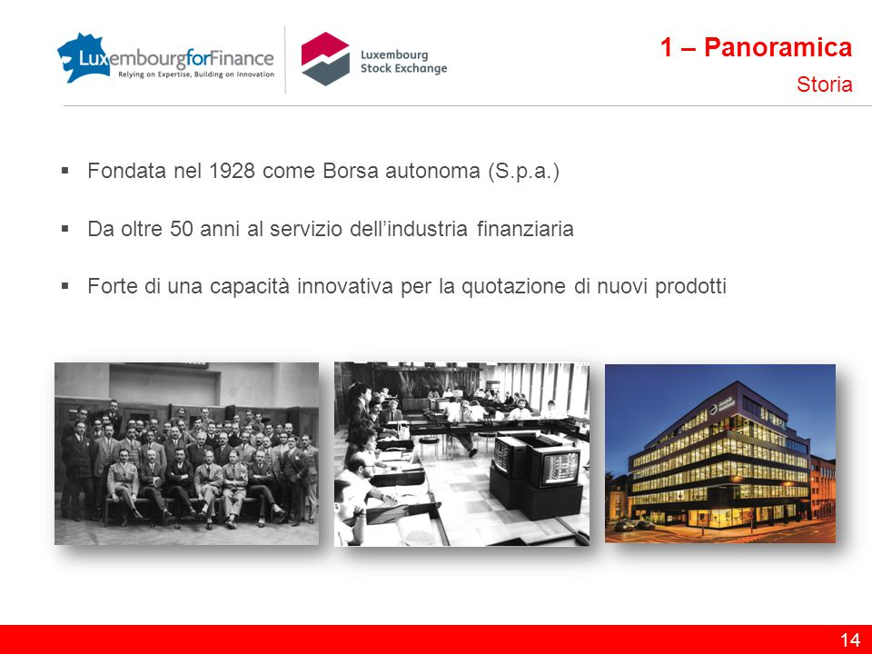 1 – Panoramica Storia Fondata nel 1928 come Borsa autonoma (S.p.a.)