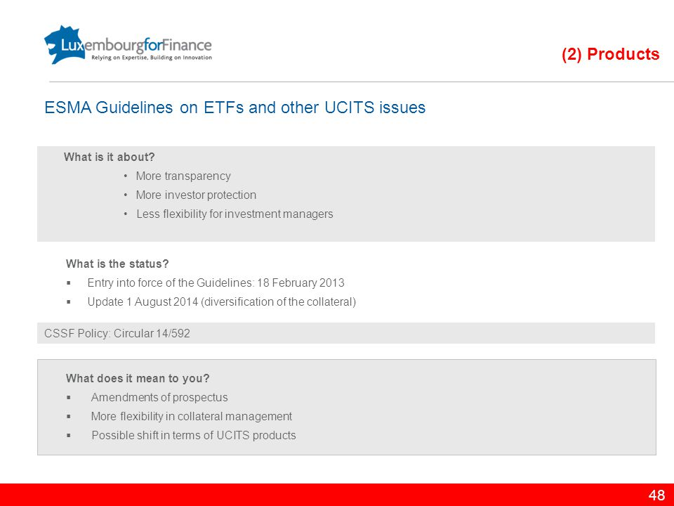 ESMA Guidelines on ETFs and other UCITS issues