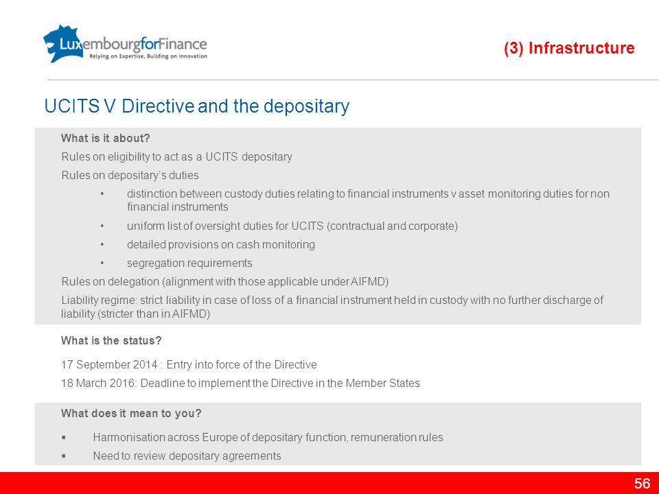 UCITS V Directive and the depositary