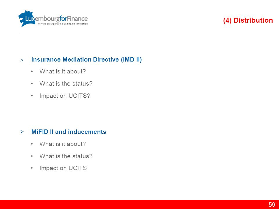 (4) Distribution Insurance Mediation Directive (IMD II)