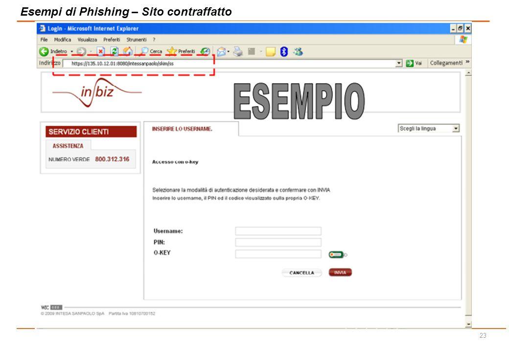 Esempi di Phishing – Sito contraffatto
