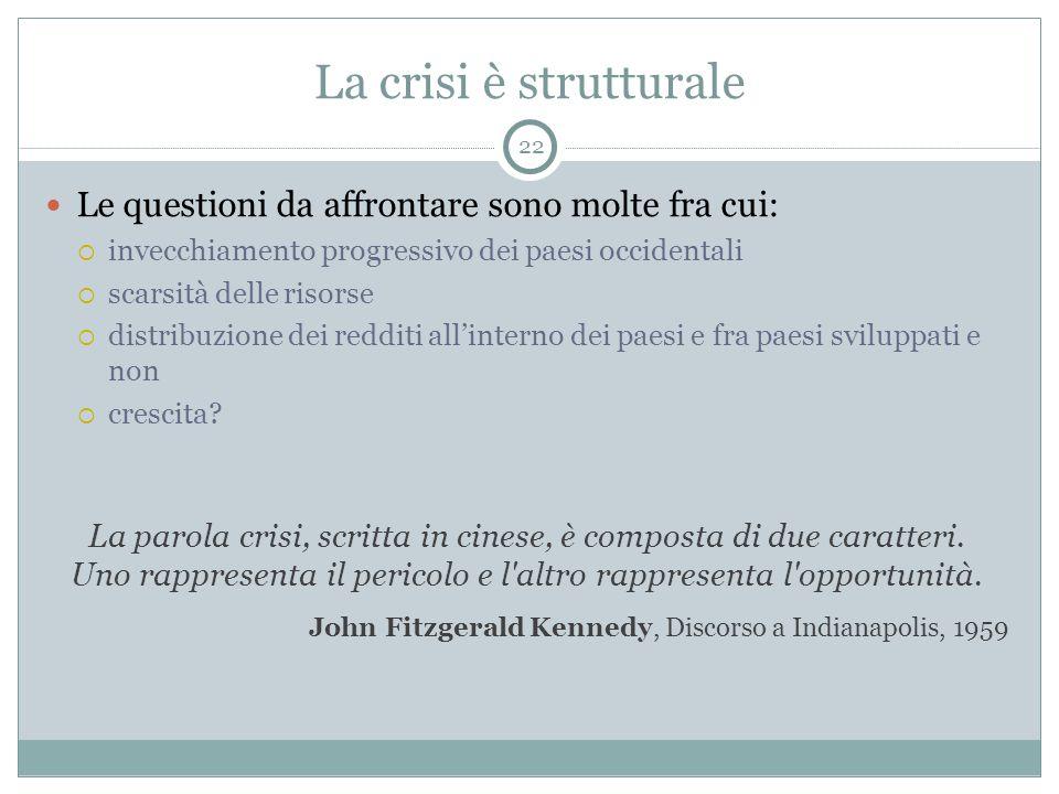 La crisi è strutturale Le questioni da affrontare sono molte fra cui: