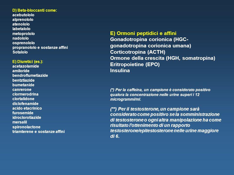 E) Ormoni peptidici e affini