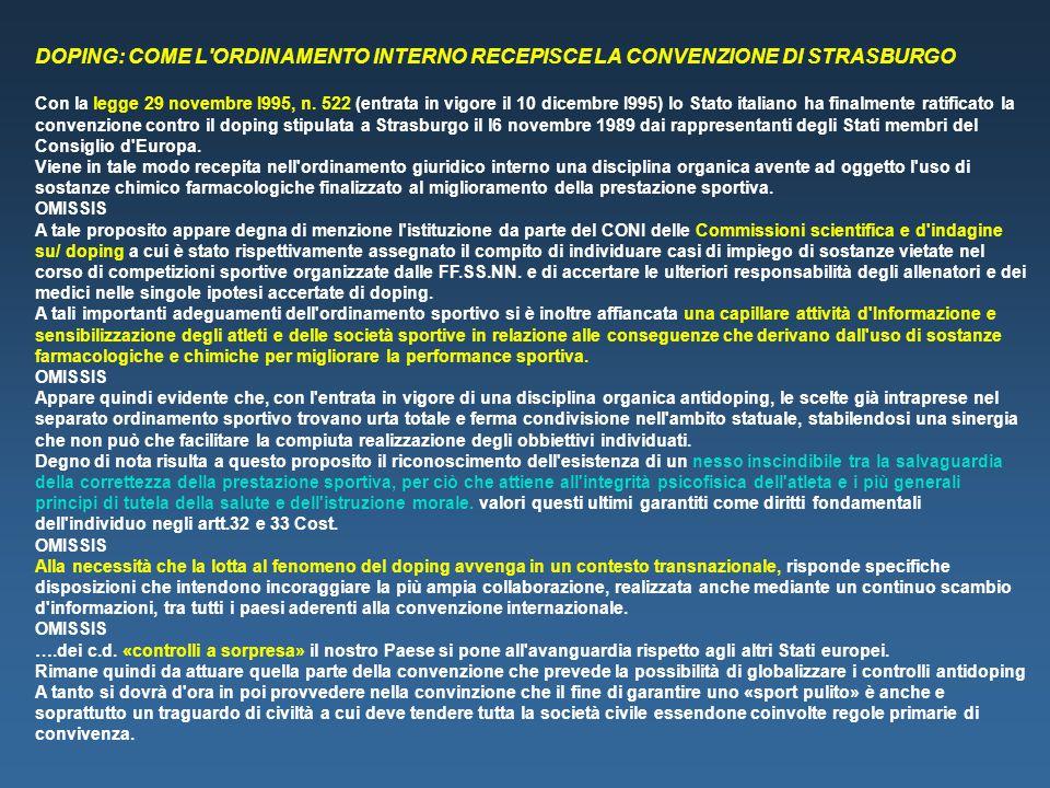 DOPING: COME L ORDINAMENTO INTERNO RECEPISCE LA CONVENZIONE DI STRASBURGO