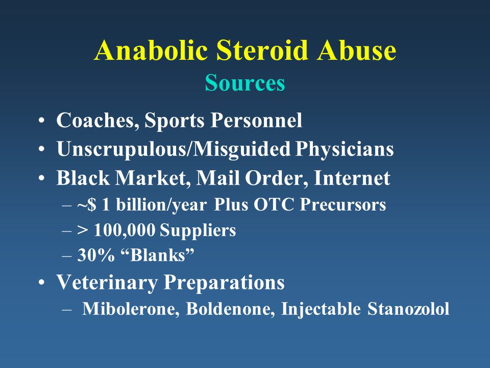 Anabolic Steroid Abuse Sources