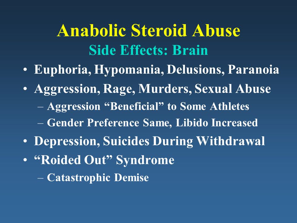 Anabolic Steroid Abuse Side Effects: Brain