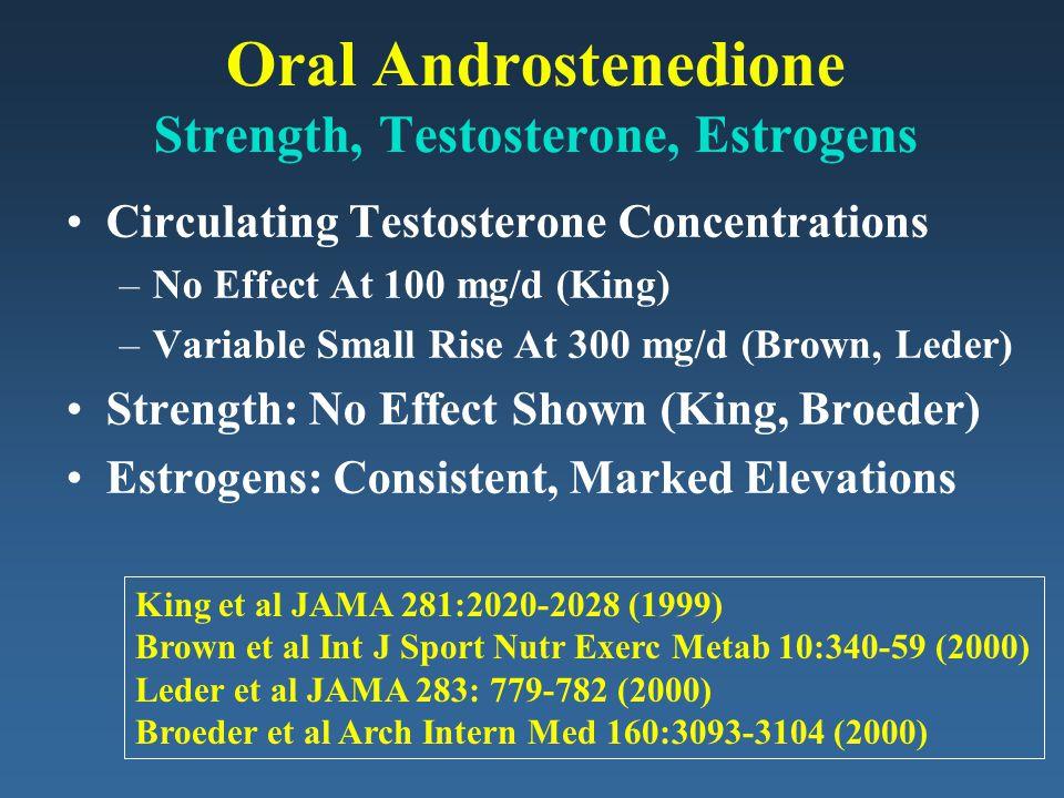 Oral Androstenedione Strength, Testosterone, Estrogens