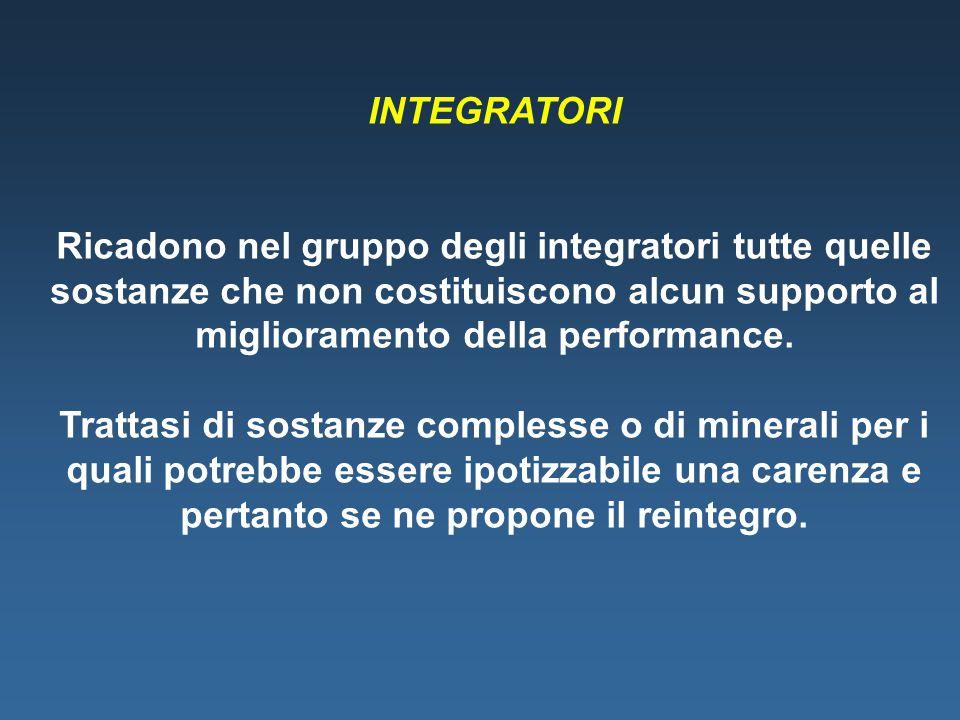 INTEGRATORI Ricadono nel gruppo degli integratori tutte quelle sostanze che non costituiscono alcun supporto al miglioramento della performance.