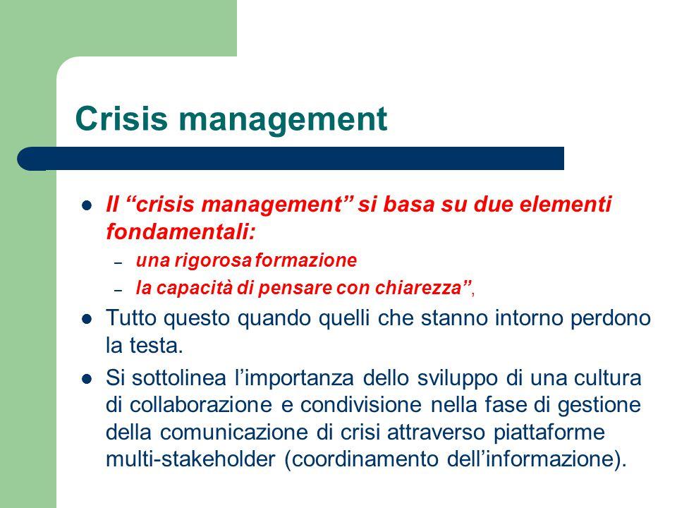 Crisis management Il crisis management si basa su due elementi fondamentali: una rigorosa formazione.