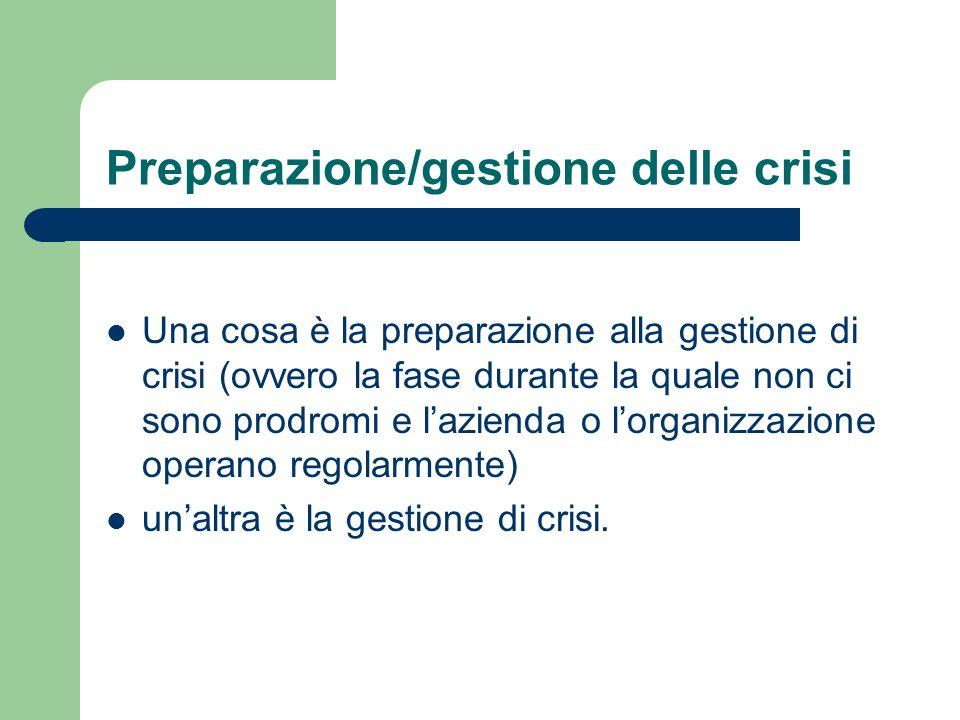 Preparazione/gestione delle crisi