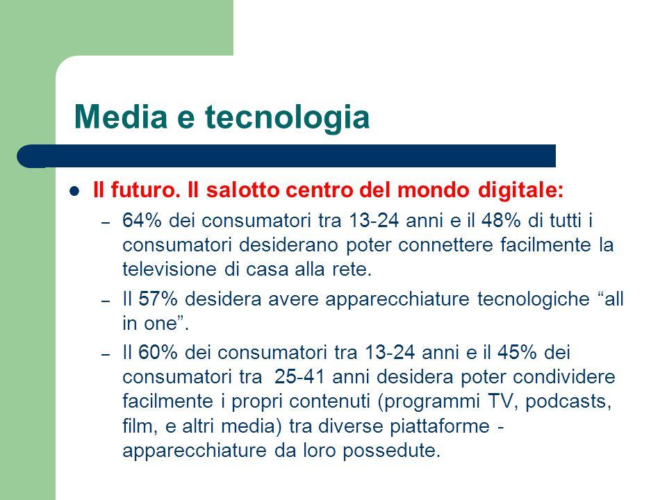 Media e tecnologia Il futuro. Il salotto centro del mondo digitale: