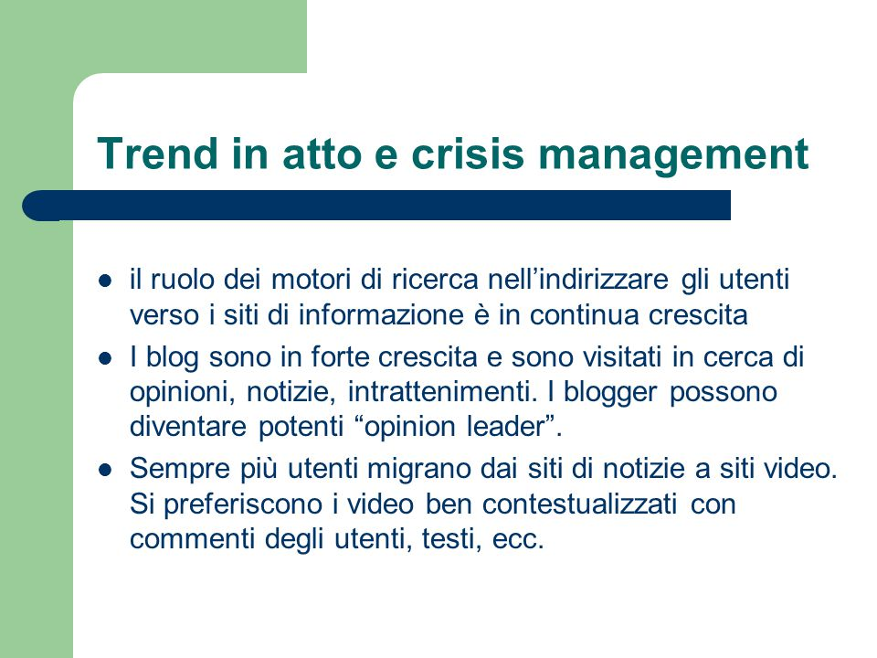 Trend in atto e crisis management
