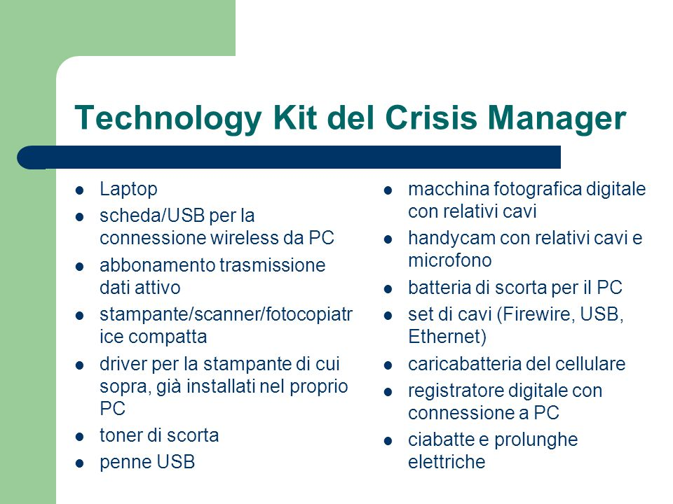 Technology Kit del Crisis Manager