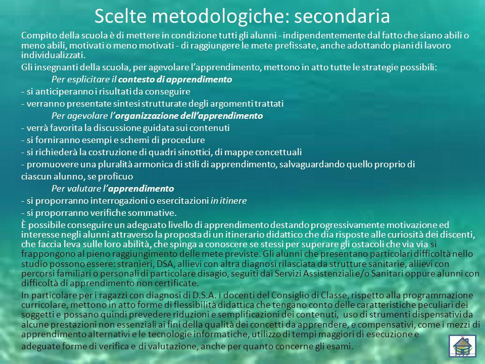 Scelte metodologiche: secondaria