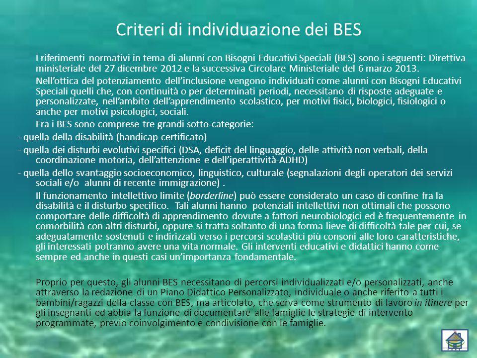 Criteri di individuazione dei BES