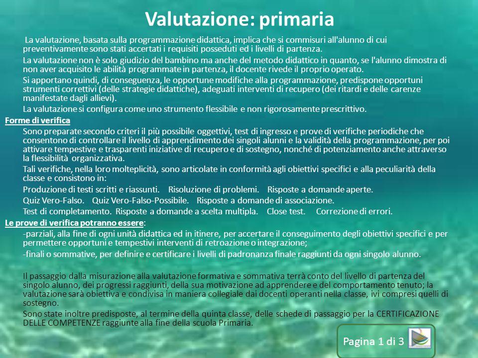 Valutazione: primaria