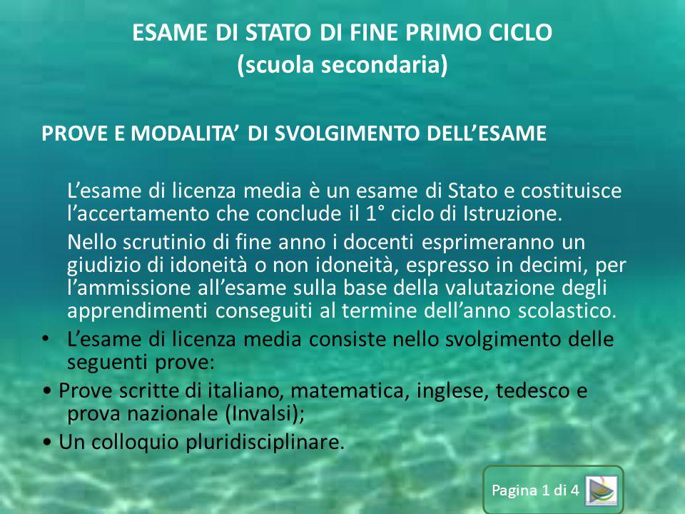 ESAME DI STATO DI FINE PRIMO CICLO (scuola secondaria)