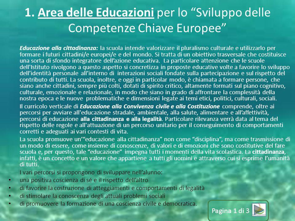 1. Area delle Educazioni per lo Sviluppo delle Competenze Chiave Europee