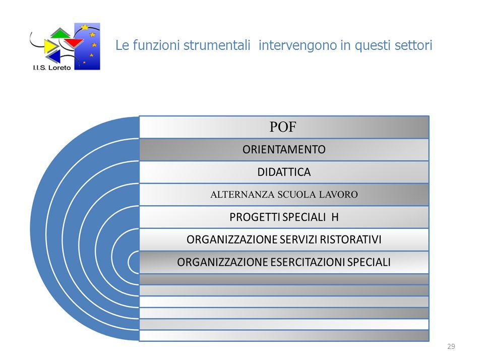 Le funzioni strumentali intervengono in questi settori