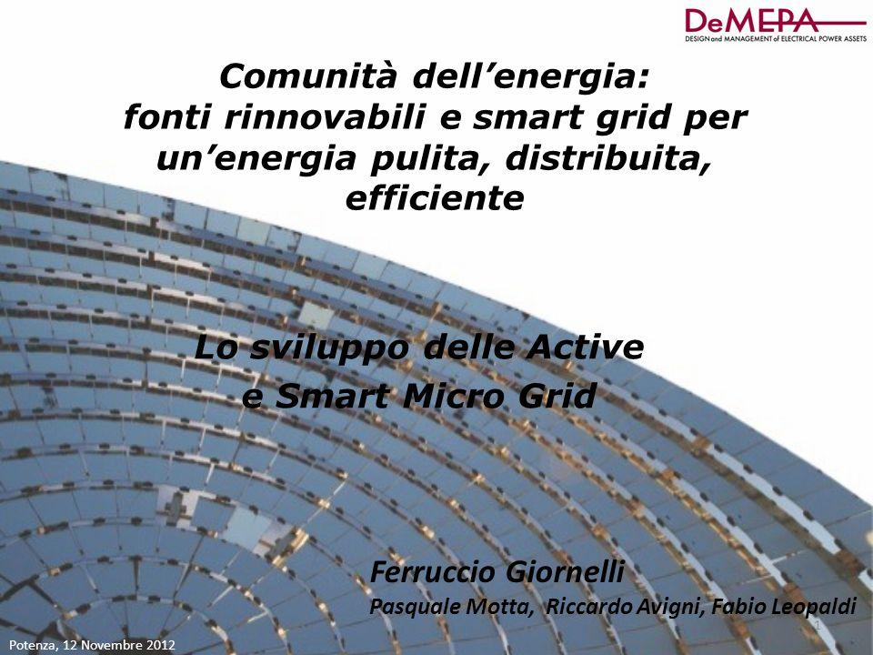 Comunità dell'energia: Lo sviluppo delle Active e Smart Micro Grid