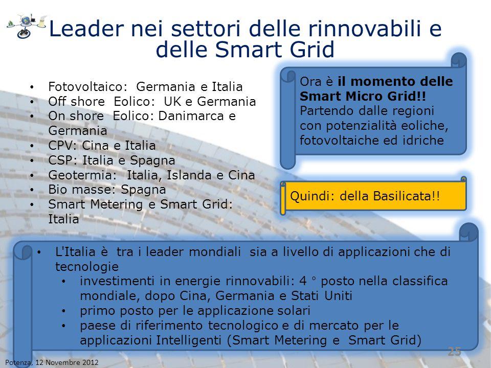 Leader nei settori delle rinnovabili e delle Smart Grid