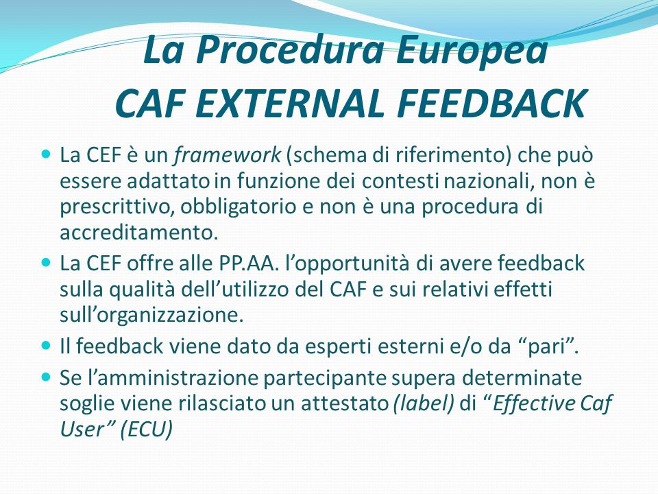 La Procedura Europea CAF EXTERNAL FEEDBACK