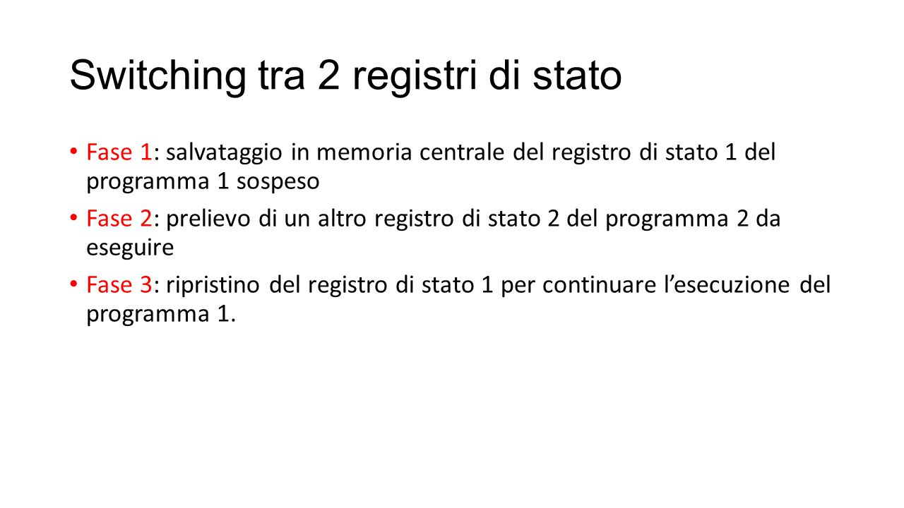 Switching tra 2 registri di stato