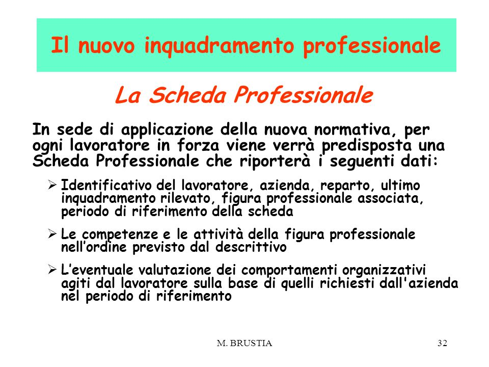 Il nuovo inquadramento professionale La Scheda Professionale