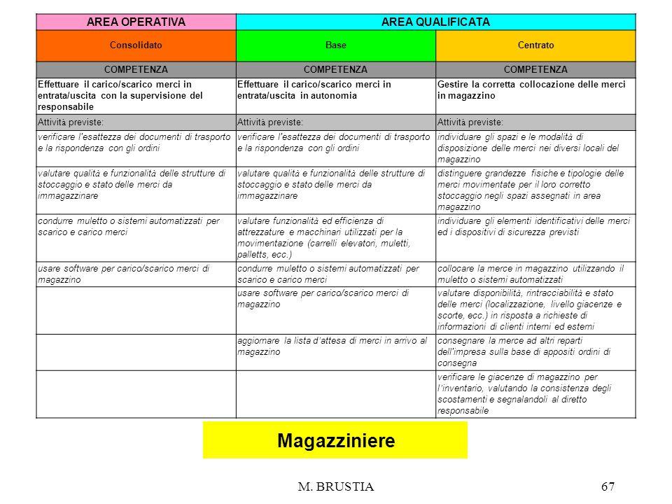 Magazziniere M. BRUSTIA 67 AREA OPERATIVA AREA QUALIFICATA 67