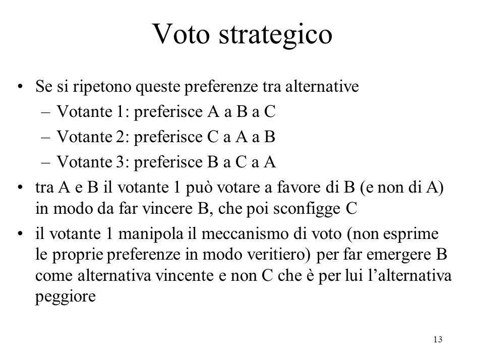Voto strategico Se si ripetono queste preferenze tra alternative