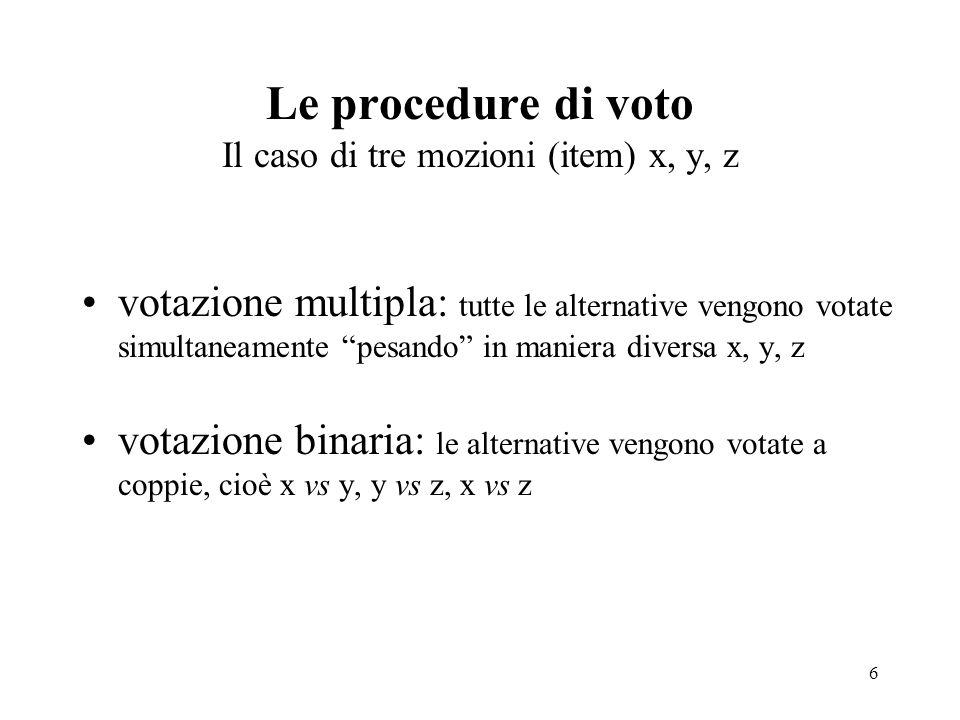 Le procedure di voto Il caso di tre mozioni (item) x, y, z