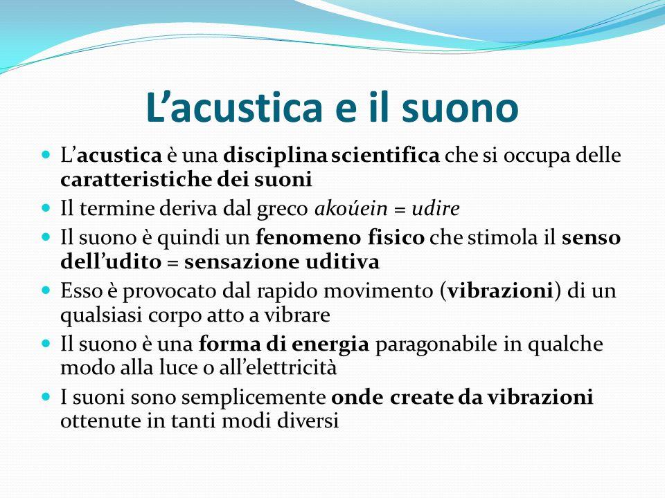 L'acustica e il suono L'acustica è una disciplina scientifica che si occupa delle caratteristiche dei suoni.