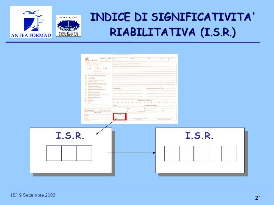 INDICE DI SIGNIFICATIVITA RIABILITATIVA (I.S.R.)