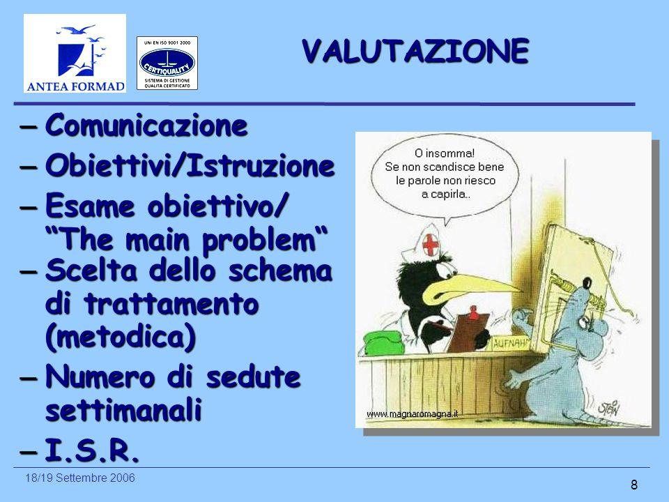 VALUTAZIONE Comunicazione. Obiettivi/Istruzione. Esame obiettivo/ The main problem Scelta dello schema di trattamento (metodica)