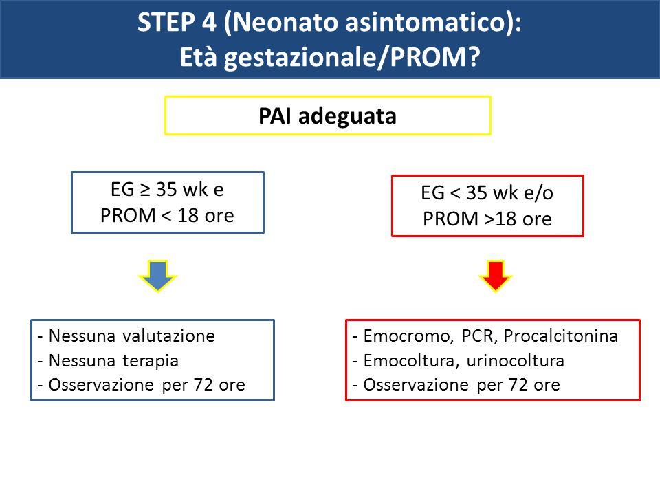 STEP 4 (Neonato asintomatico): Età gestazionale/PROM