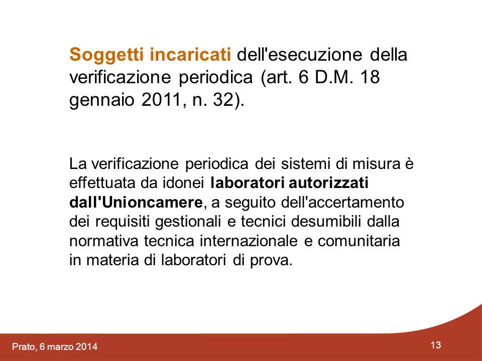 Soggetti incaricati dell esecuzione della verificazione periodica (art