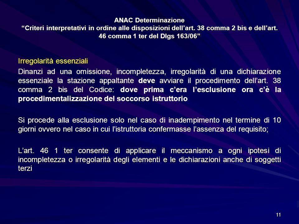 ANAC Determinazione Criteri interpretativi in ordine alle disposizioni dell'art. 38 comma 2 bis e dell'art. 46 comma 1 ter del Dlgs 163/06