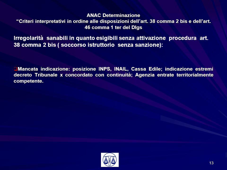 ANAC Determinazione Criteri interpretativi in ordine alle disposizioni dell'art. 38 comma 2 bis e dell'art. 46 comma 1 ter del Dlgs